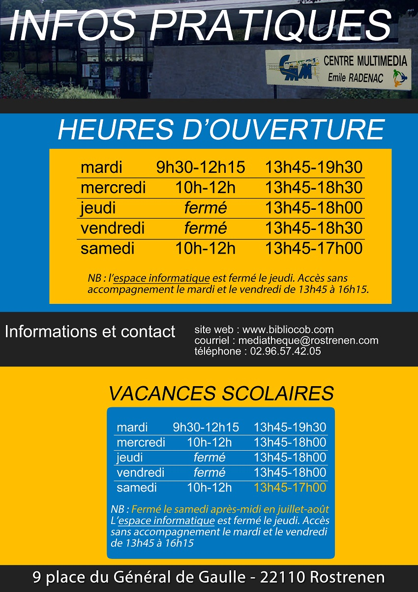 2fe0afce5f3624 A partir du 1er janvier, nouveaux horaires d ouverture du Centre Multimédia